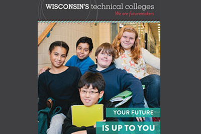 middle school students on brochure cover