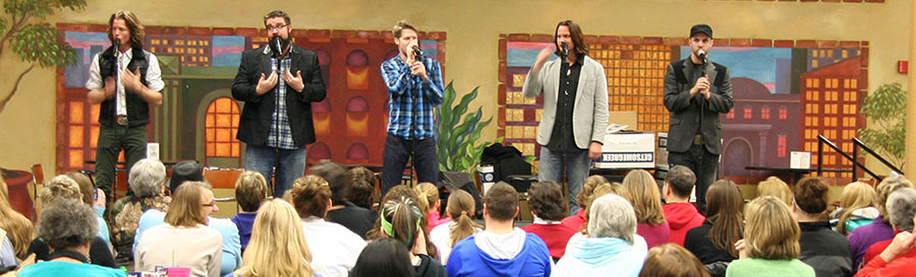 A capella group Home Free entertains the audience at the Appleton campus